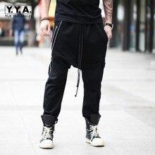 Preto Personalidade Zipper Designer Mens Sweatpants Harém Baixo Virilha Calças Soltas Calça Casual Hip Hop Streetwear Homem Calças de Cordão