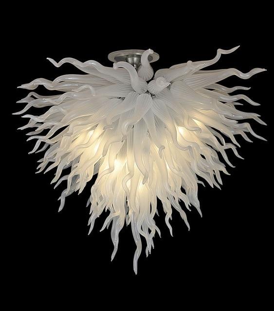 Elegant Wedding Decoarations White Glass Art Lighting Chandelier Heart Shape Chihuly Style Hand N Crystal