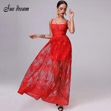 섹시한 빨간 레이스 여자의 붕대 드레스 가을 2020 스파게티 스트랩 Bodycon 클럽 긴 관점 패션 파티 크리스마스 드레스