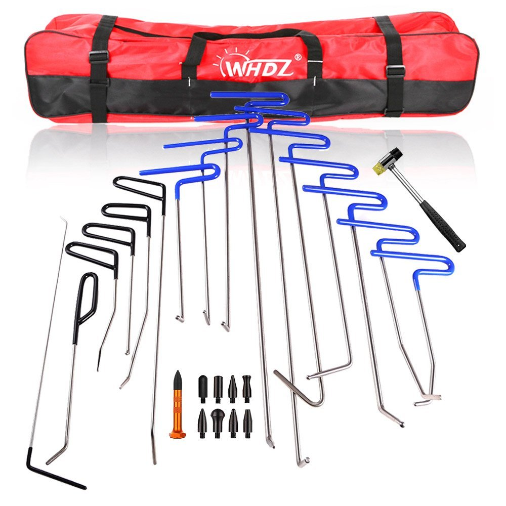 PDR Rods 16pcs Auto Body Dent Repair Hail Damage Removal Tools with Dent Hammer Tap Down PDR Rods Tool for Car Dent Ding Removal pdr rod tool kit set door ding repair hail damage repair with with 9 heads aluminum tap down dent hammer paintless dent removal