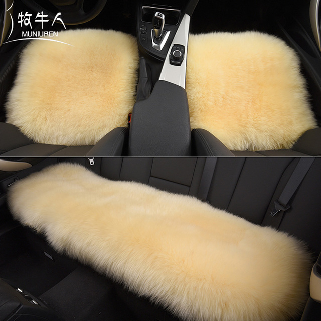 MUNIUREN 3pcs Long Wool Car Seat Covers Universal Australian Natura Fur Cover Furry Winter