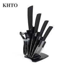 KHTO Kitchen knives Ceramic Knives Accessories set 3″ Paring 4″ Utility 5″ Slicing 6″ chef Knife+Holder+Peeler Black Blade