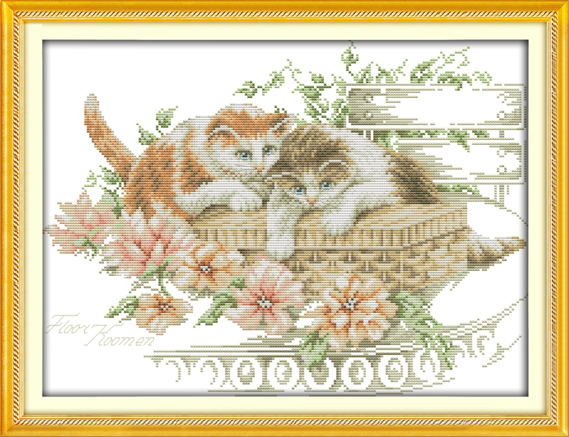 Flowers and cats cross stitch