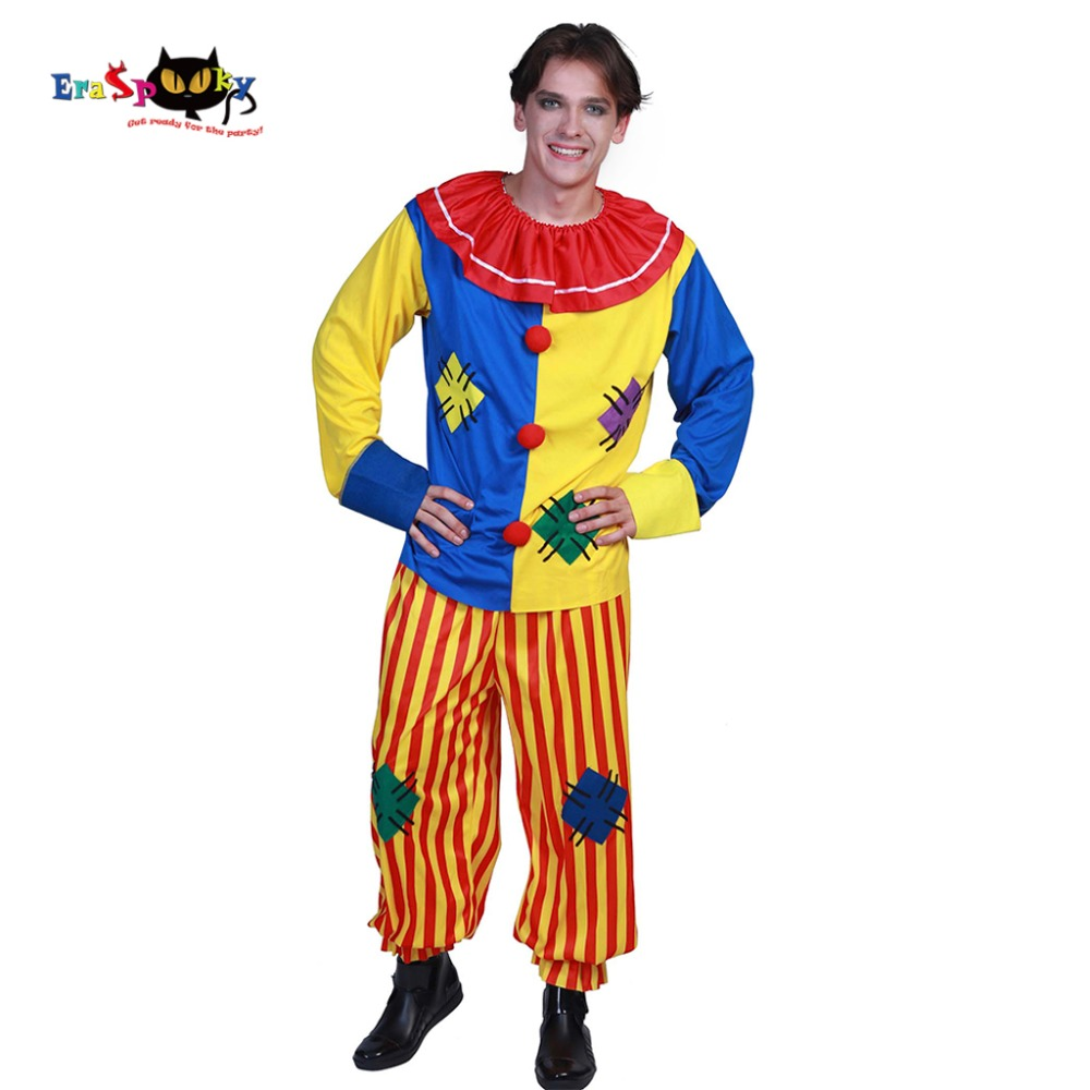 Plus size Carnival Mens Halloween Costumes Big Top Clown Costume Adult Circus Joker Patches Harlequin Suit Outfit Clown Cosplay