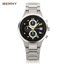 BERNY Role Luxury Men's Casual Business Quartz Watch Chronograph & Auto Date Sports Stop Watch Function Men Watches Males Clock