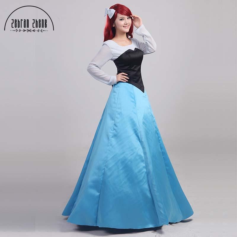 Little Mermaid Ariel Blue Dress Princess Cosplay
