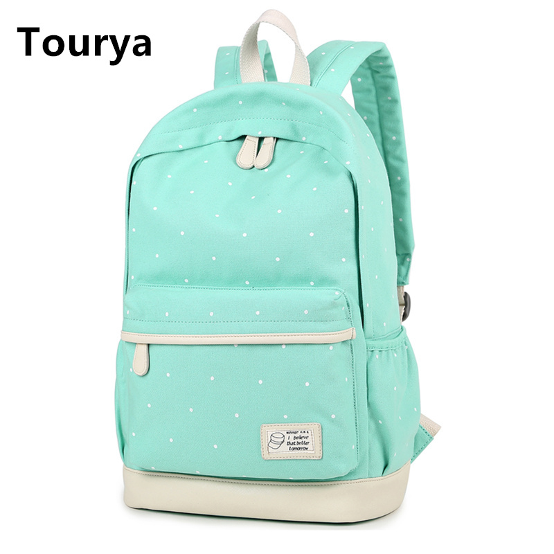 Tourya Casual Bag School Backpack Cute Dot Printing Canvas For Teenagers Girl School Bags Women Shoulder Female Rucksack new gravity falls backpack casual backpacks teenagers school bag men women s student school bags travel shoulder bag laptop bags