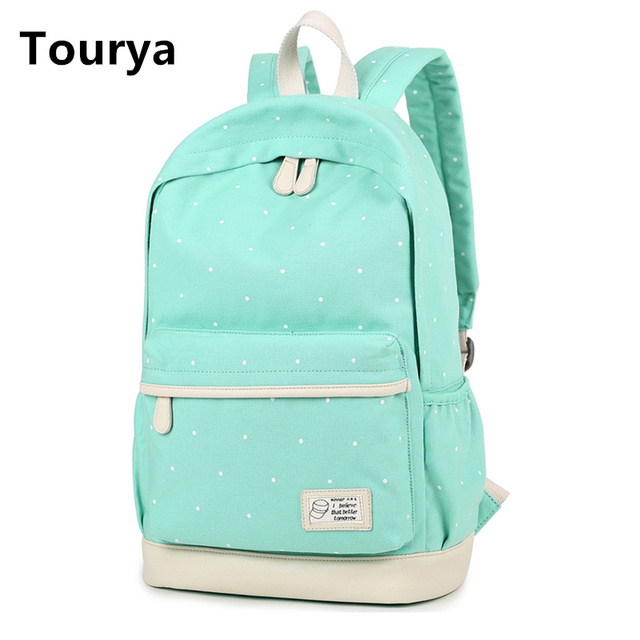 Tourya Casual Bag School Backpack Cute Dot Printing Canvas For Agers Bags Women Shoulder