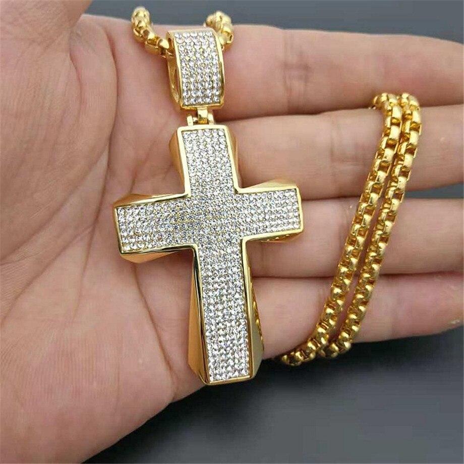 Acier inoxydable grand pendentif croix & chaîne mâle couleur or pavé strass colliers chrétiens pour hommes bijoux