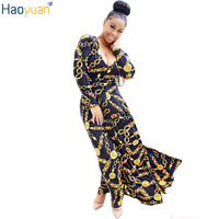 HAOYUAN Woman Sexy Retro Maxi Dress British Style Robe Long Sleeve Gold Pinted Long Dress Autumn