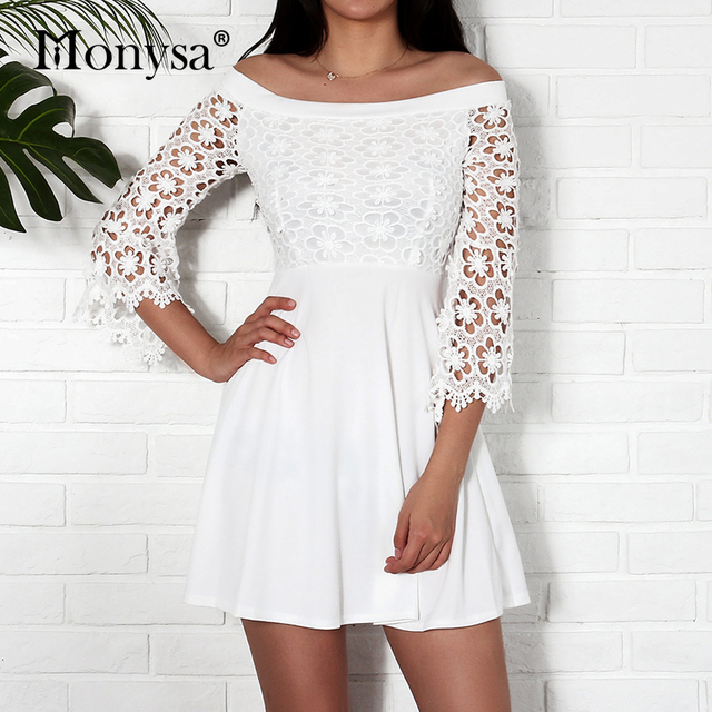 1c01184bf0ef Off Shoulder Dress Women Summer Autumn 2018 New Arrival Floral Crochet Lace  Sleeve Casual Dresses Ladies Black White Short Dress