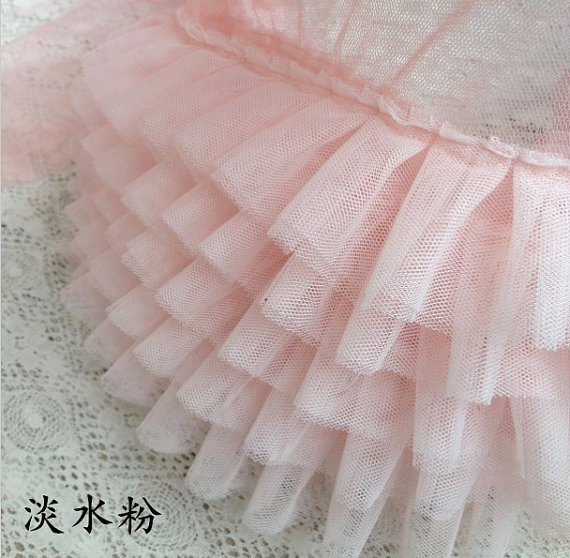 Light Pink Ruffled Tulle Trim Ruffled Lace Trim Tutu