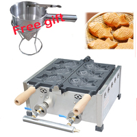 Gas type 3 pcs Taiyaki maker machine Fish waffle maker 3 Pcs