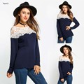 FANALA T-Shirts for Women Fashion Sexy O Neck Lace Patchwork Solid Long Sleeve Female Tops Tee Shirt Solid Slim Sexy T-Shits Top