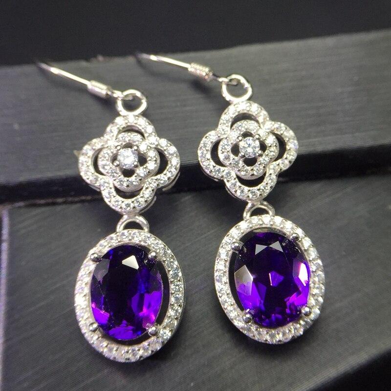 Uloveido Tested Amethyst Stud Earrings for Women 925 Sterling Silver Jewelry 6 8mm Gemstone with Velvet