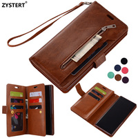 Capa Funda Luxury Strap Zipper Leather Magnetic Flip Stand 9 Cards Slot Retro Wallet Case Cover