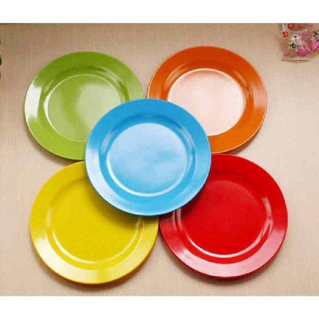 Food Plate Dinner Service 25cm Pigmented Dinner Plates Plastic Dish Round  Plate Flat Dish Tableware Service