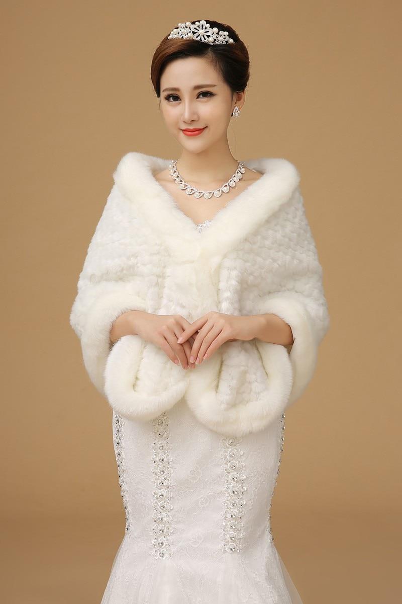 Top Quality 2015 Wedding Dress Shrugs Fur Cape Ivory Winter Coat ...