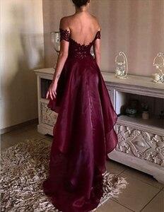 Image 3 - את כתף גבוהה נמוך בורגונדי שושבינה שמלות סקסי אפליקציות ללא משענת לנשף שמלות Vestido דה festa