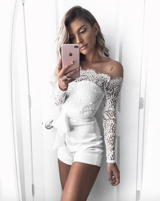 2018 New Summer Lace Sexy Jumpsuit Romper Women High Waist Off Shoulder White Beach Playsuit Elegant Bodycon Bow Flare Overalls in Rompers from Women 39 s Clothing