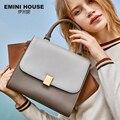 EMINI HOUSE трапециевидная женская сумка, сумки, хит продаж, брендовая кожаная роскошная сумка 2018, женские сумки на плечо