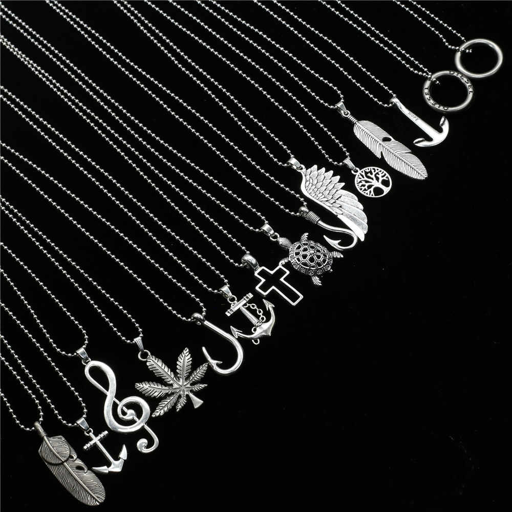 New Male Punk Long Custom Sweater Chain Choker Necklace Music Note Angel Wing Feather Pendant Necklace Men Women Jewelry