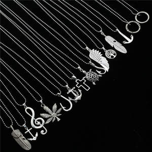 Sweater Chain Choker Necklace Angel-Wing Feather Pendant Women Jewelry Punk Custom Male