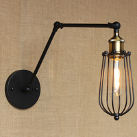 Retro Vintage style Wall Lamp Sconces metal Shade Baking Finish Restoration Light Fixture,Wall Mount Swing Arm Lamps