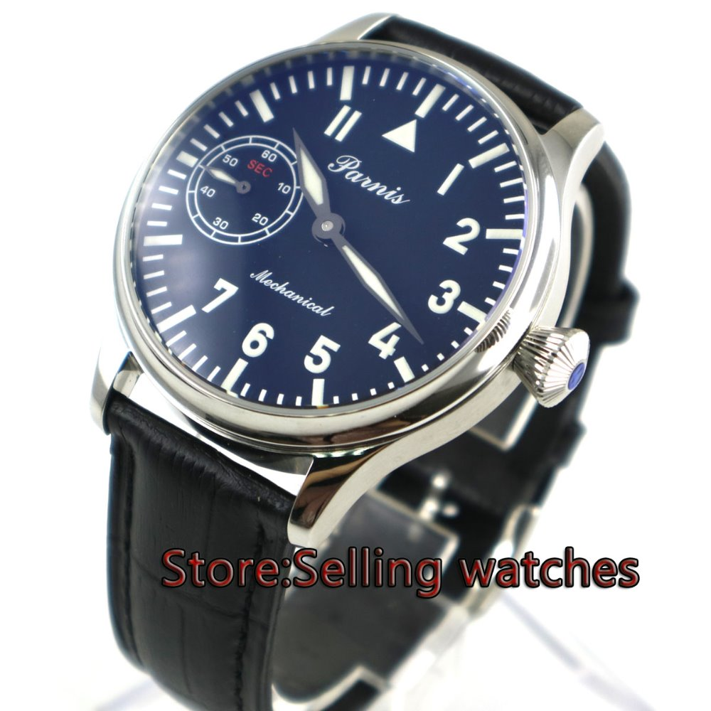 44mm parnis black dial super luminous seagull 3600 Stainless Steel Case hand winding 6497 mechanical mens watch P6 44mm parnis black dial luminous marks seagull 6498 hand winding mens watch
