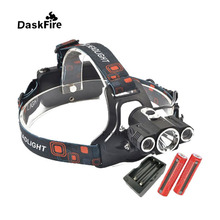 DaskFire Super Light CREE 3 x T6 LED Headlamp 18650 Headlight with Battery and Charger