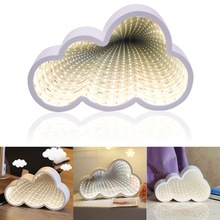 LED cloud shape tunnel light dream effect mirror creative bedroom decoration lamp