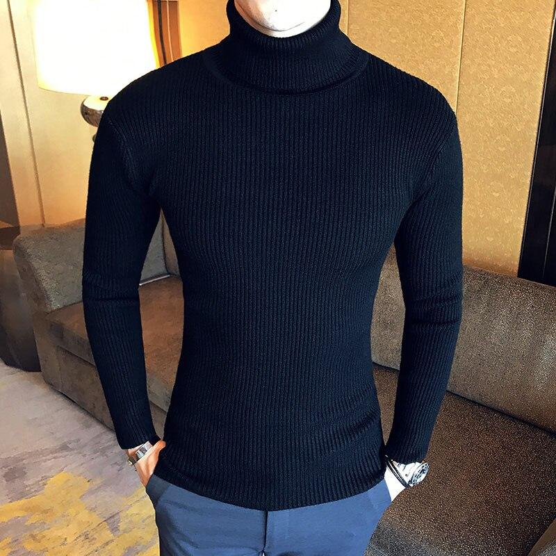 Зимний толстый теплый мужской свитер с высоким воротником, Брендовые мужские свитера с высоким воротником, облегающий пуловер, Мужская трикотажная одежда с двойным воротником - Цвет: 7206  black