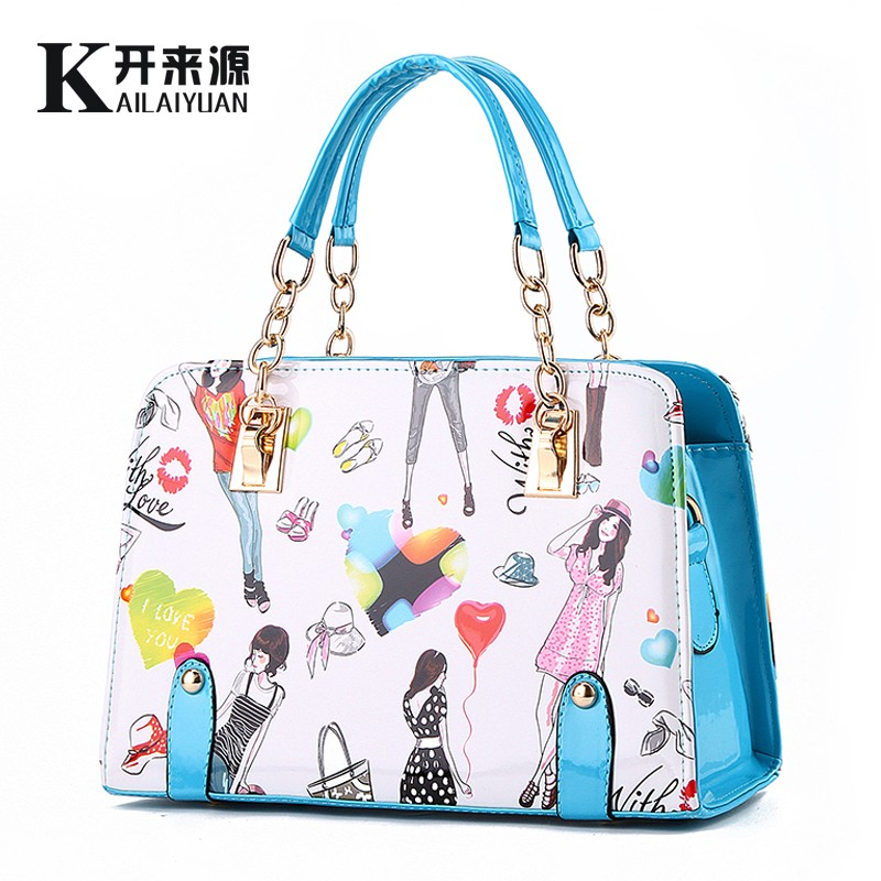 0dfaf376d9 Kai 100% Genuine leather Women handbags 2016 New female summer models  beautiful young fashion chain handbag diagram-in Top-Handle Bags from  Luggage   Bags ...