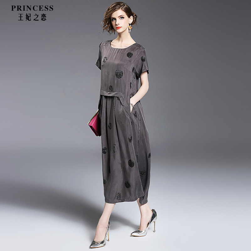 Fairy Dreams Women Loose Midi Dress 2017 New Style Short Sleeve Big Dot Spring S
