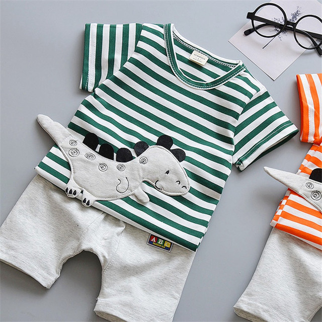 Newborn Cartoon Striped Clothes Suit for Baby Boys 2Pcs 5