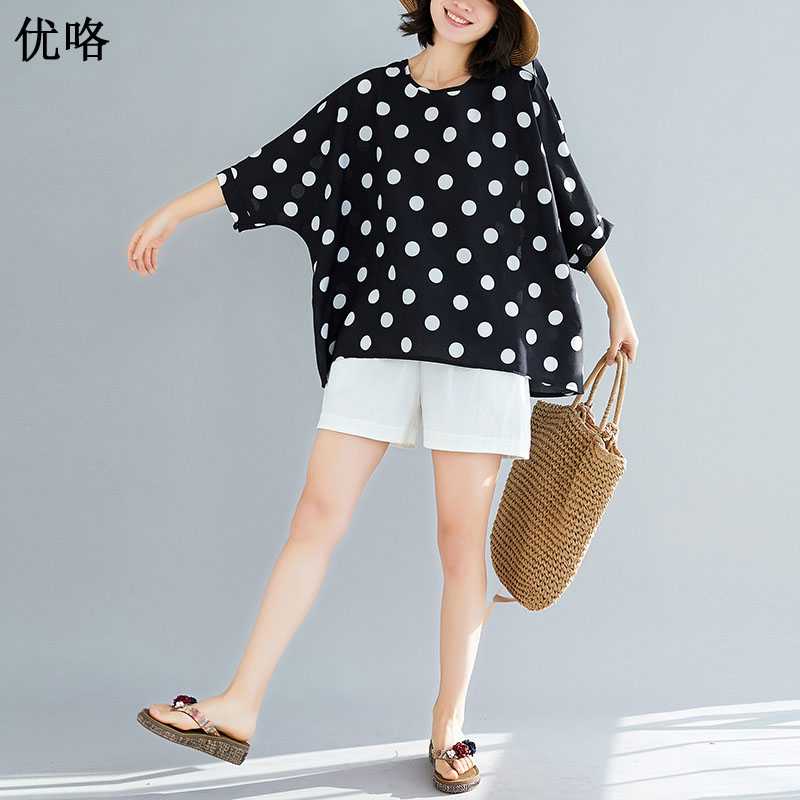 Women's Clothing Charitable Big Size 4xl 5xl 6xl Chiffon Blouse Shirt Women Plus Size Batwing Sleeve Blouse Vintage Dot Printed Women Tops And Blouses 2019 Clear-Cut Texture