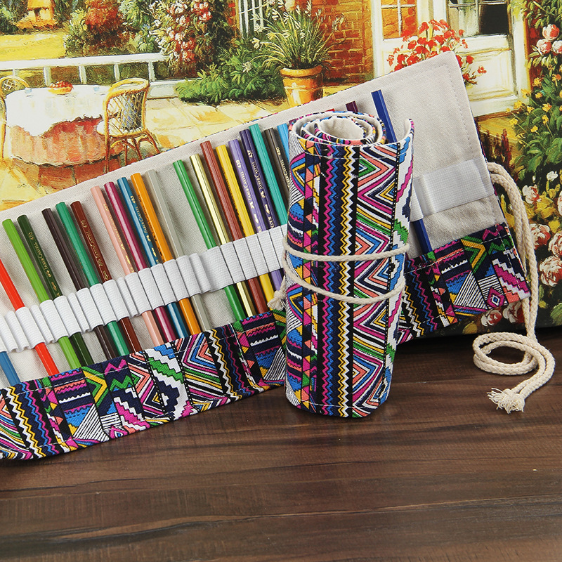 National Canvas Pencil Case 36/48/72 Holes Roll Up Pencil Bag Portable Pencil Box Storage Bag School Supplies Papeleria