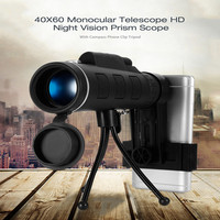 40X60 HD Mini Day And Night Vision Monocular Telescope With Tripod Phone Clip Handheld Optical Monocular