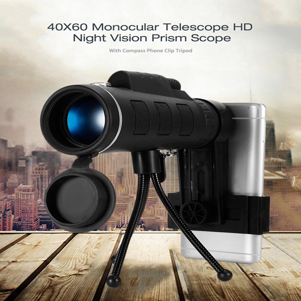 40X60 HD Mini telescopio Monocular de visión diurna y nocturna con trípode Clip de teléfono óptico de mano Monocular al aire libre Camping