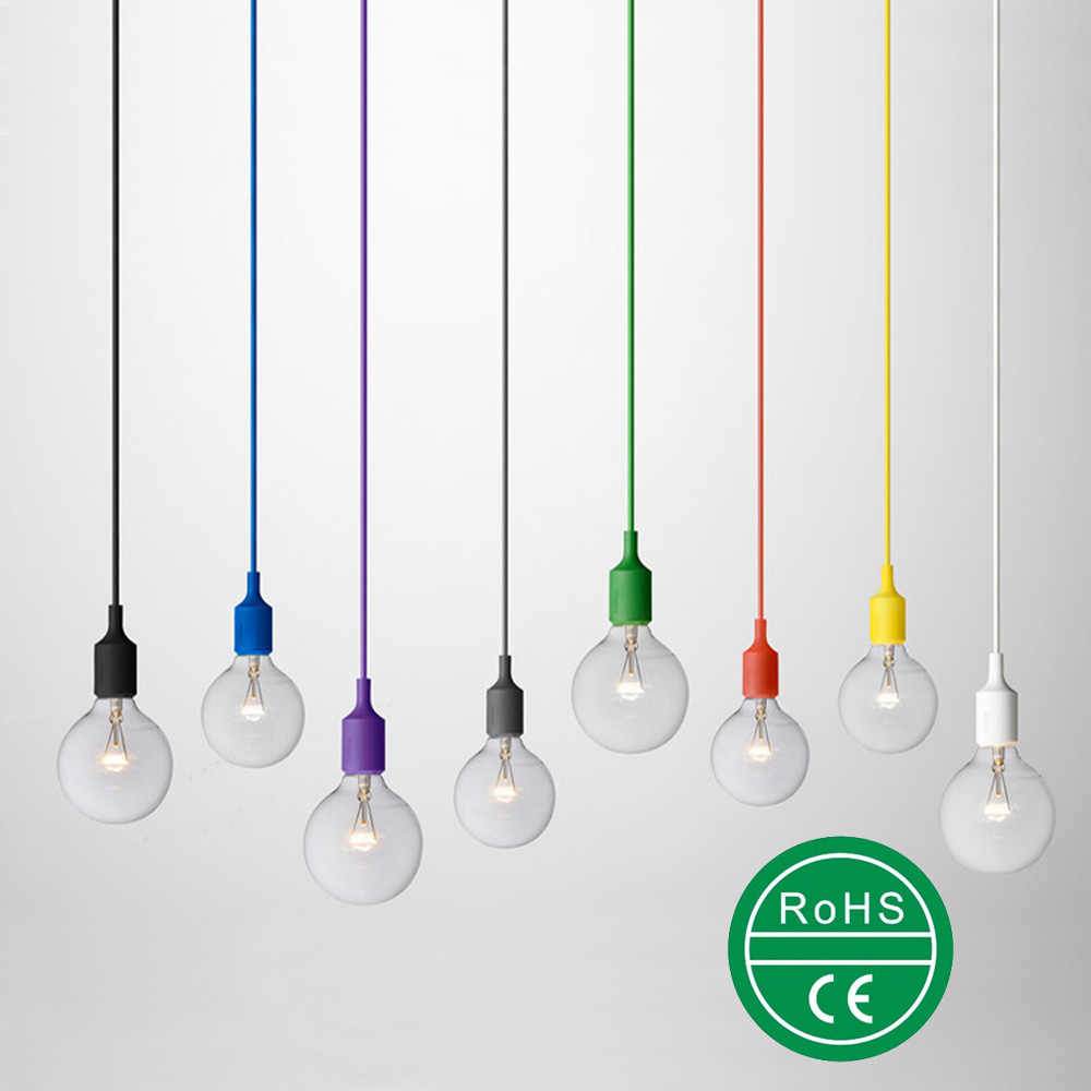 Colorful  Silica Gel E27 Art Pendant Light Display window decorate Lamp Modern Vintage Bar coffee Bedrooms Hanging lamp