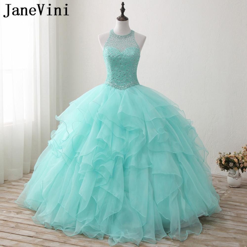 JaneVini Elegant Mint Green Quinceanera Dresses Plus Size Ball Gown O-Neck Beaded Backless Organza Floor Length Sweet 16 Dresses