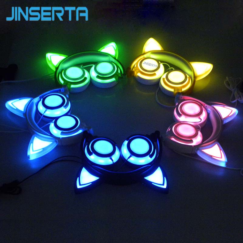 JINSERTA Foldable Flashing Glowing cat ear headphones Gaming Headset Earphone with LED light For PC Laptop Computer Mobile Phone 2017 teamyo newest flashing glowing led cat ear headphones for kids children headsets for mobile phone pc laptop computer