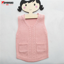 лучшая цена Kids Girls Sweaters Warm Soft Wool Children Girls Pullovers Casual Solid V-Neck Cashmere Knitted Vest Baby Girls Sweater Clothes