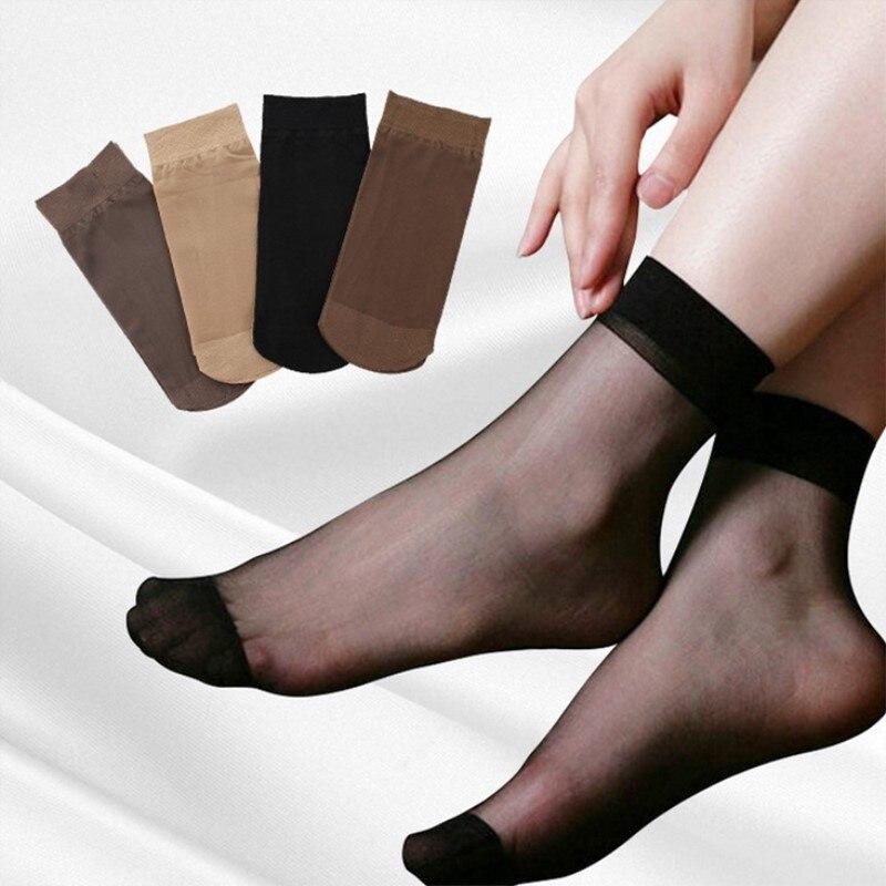 Jeseca 10 pairs/lot New Sexy Crystal Silk   Socks   Women Underwear High Elastic Short   Socks   Ultra Thin   Socks   Women Female Lingerie