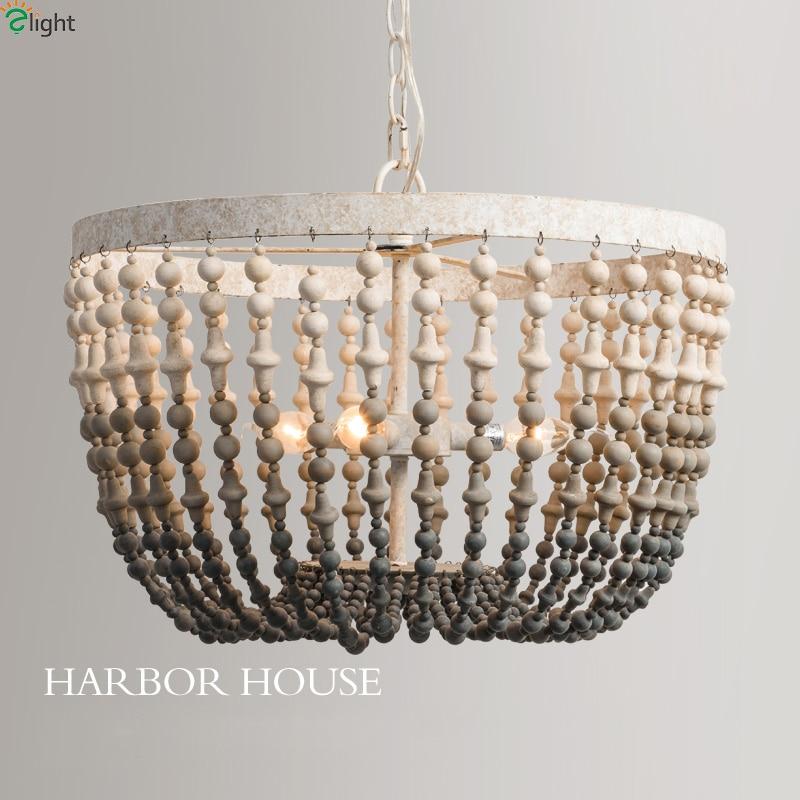 Led Chandeliers Lighting Wood Beads