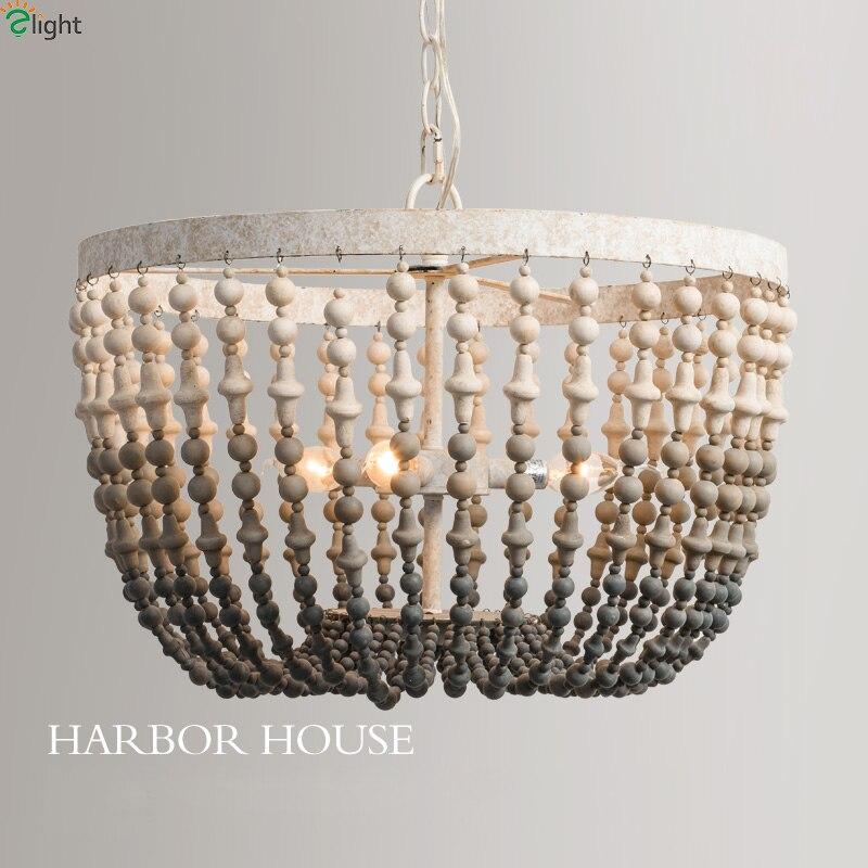 Americano Antico Metallo Led Lampadari Illuminazione Perline di Legno Soggiorno Lampadario A Sospensione A Led Luci Loft Hanging Light Fixtures