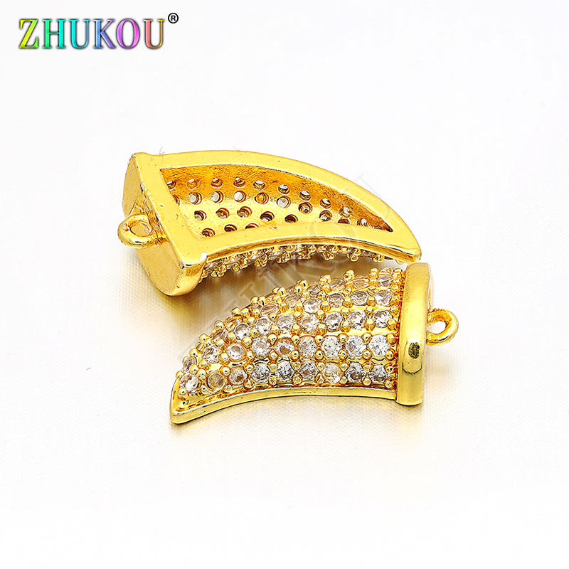9*15mm Brass Cubic Zirconia Ivory Charms Pendants for DIY Jewelry Findings Accessories, Hole: 0.5mm, Model: VD56