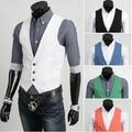 Men Slim Fit White Vest Men Male Suit Chaleco Men Gilet Pink Green Blue Black White Vest Coletes Masculinos Men Suite Veste