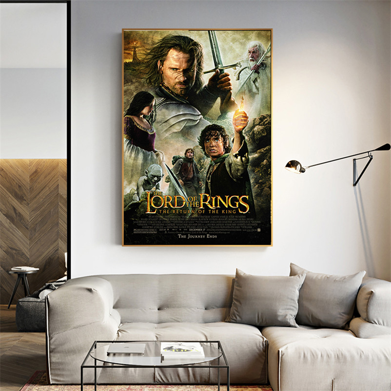 Wall Poster Printed Painting Wall Art Canvas Living Room Hobbit Lord Of The Rings Middle Earth Map Poster Home Decor