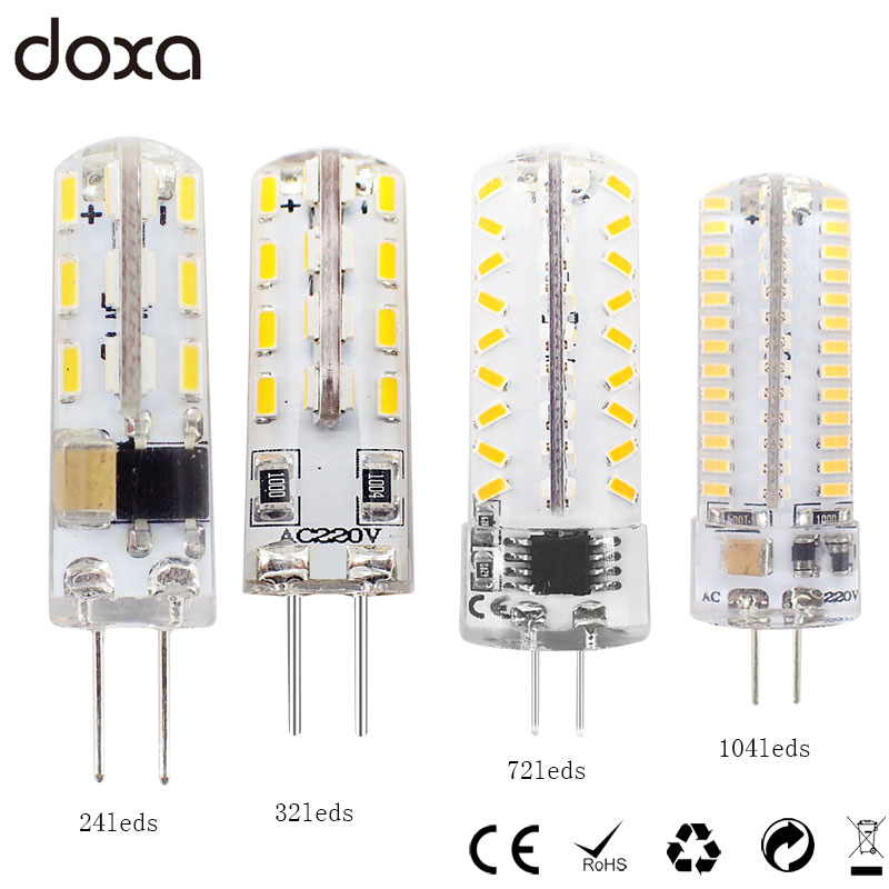 Doxa G4 LED Bulb 1.5W 2W 3W 4W Bombillas LED G4 Corn Light Bulb 110V 220V 24/32/72/104LEDs SMD 3014 Replace 10w 20w 30w Halogen